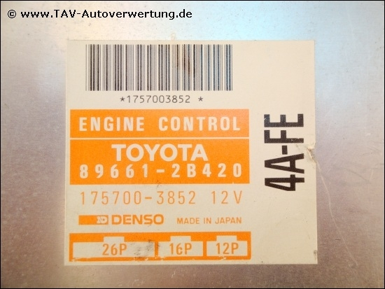 Engine Control Unit Toyota 896612b420 4afe Denso