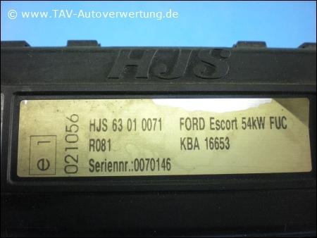 HJS Steuergeraet 63010071 Ford Escort 54kW FUC R081 KBA 16653 021056