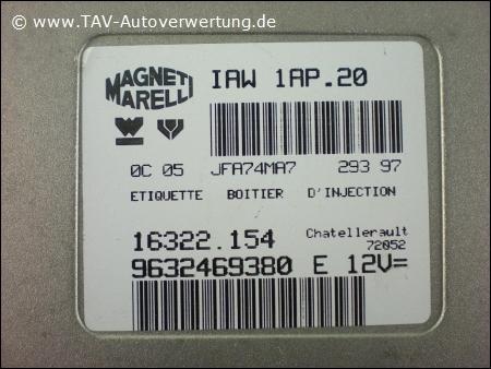 engine control unit magneti marelli iaw 1ap 20 16322154 9632469380 e 12v citroen peugeot 239 00. Black Bedroom Furniture Sets. Home Design Ideas
